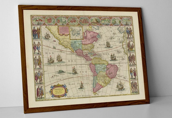 Columbia Mexico Map.Americas Old Map Print Of Americas Mexico Argentina Etsy