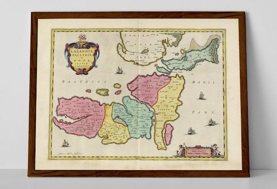 Næstved Old Map Print of Region Zealand Næstved Nykøbing | Etsy