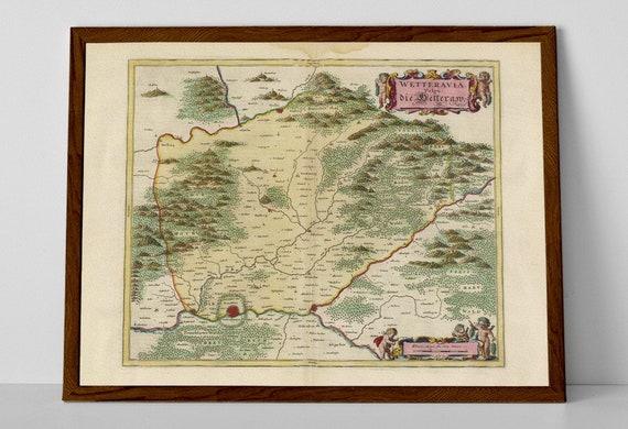 Bad Homburg Germany Map.Wetterau Old Map Print Of Germany Nidda River Oberhessen Etsy