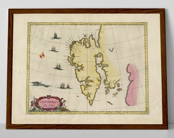 Old Map of Spitsbergen Island, Norway   Svalbard, Longyearbyen, Hopen, Kong Karls Land, Nordaustlandet, Bellsund, Greenland Sea, Norwegian