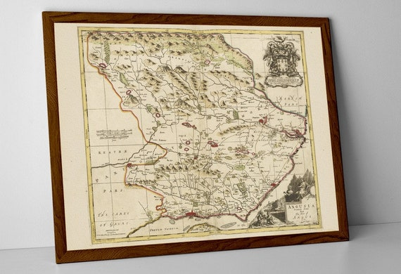 Angus Scotland Old Map Print Of Scotland Dundee Perth Etsy