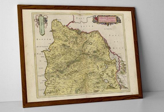 Troon Scotland Map.Ayrshire Old Map Print Of Scotland Ayr Maybole Galloway Etsy