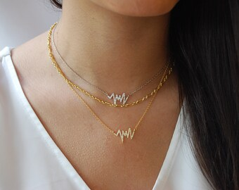 Minimalist necklace, Silver necklace, CZ necklace, Dainty silver necklace.