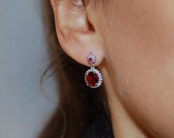Delicate silver earrings, Cz earrings, Dainty earrings.