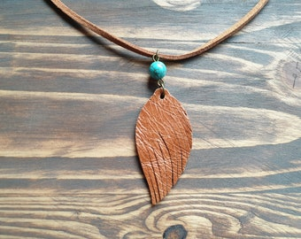 743b6805d01b2 Bohemian Leather Necklace. Leather Feather Necklace. Brown