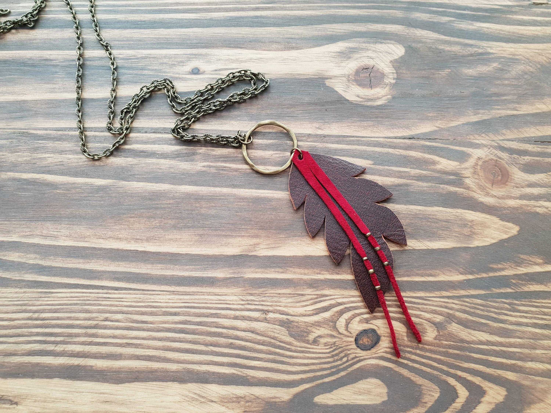2e167c26f2235 Leather Leaf Necklace Leather Feather Necklace Boho