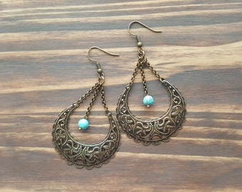 Bronze Tribal Earrings. Large Boho Earrings. Bohemian Earrings. Filigree Earrings. Turquoise Earrings. Bohemian Jewelry. Boho Jewelry.