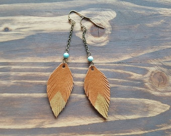 Long Dangle Leather Feather Earrings, Bronze Earrings, Boho Earrings, Leather Leaf Earrings, Bohemian Earrings, Boho Jewelry