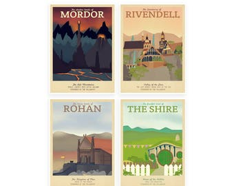 Retro Travel Poster - The Lord Of The Rings - Set of 4 - MANY SIZES - Modern Vintage lotr Geek Hobbit Elf Dwarf Typography Art Print
