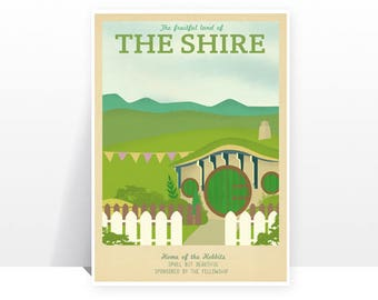 Retro Travel Poster - The Lord Of The Rings - The Shire - MANY SIZES - Modern Vintage lotr Geek Hobbit Elf Dwarf Typography Art Print
