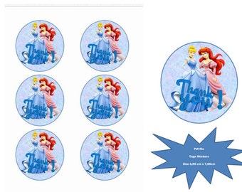 Disney Princess, round tags, digital PDF printing Tags, Thank you stickers, birthday tags, PDF tag sticker,Printable,Digital PDF,Printable
