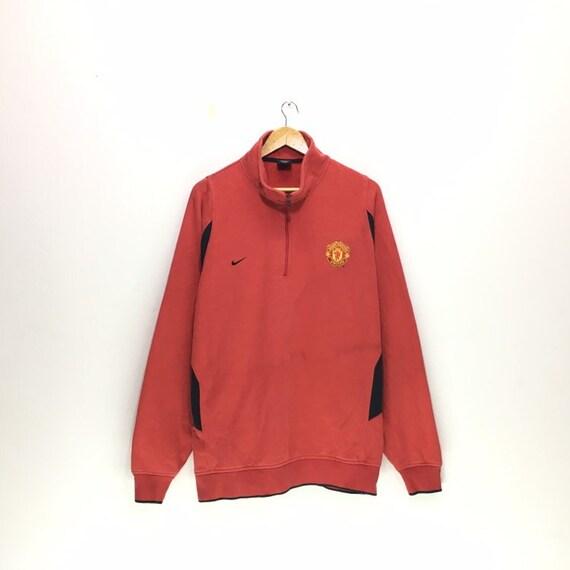 Vintage Nike X Manchester United Swoosh Embroide Logo Sweatshirt Man U Jacket Man United Sweatshirt Nike by Etsy