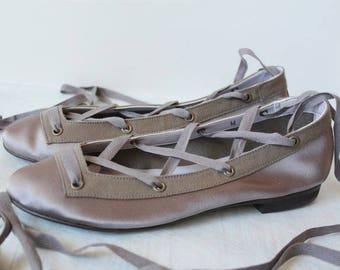 Silk Satin lace-up ballet style shoes