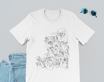 d2768f00b Line Drawing T-Shirt, Black and White, Graphic Tee, Minimalist,  Illustration, Tee, Line Art, Dtg Print, Dtg T-Shirt, Face T-Shirt, Abstract