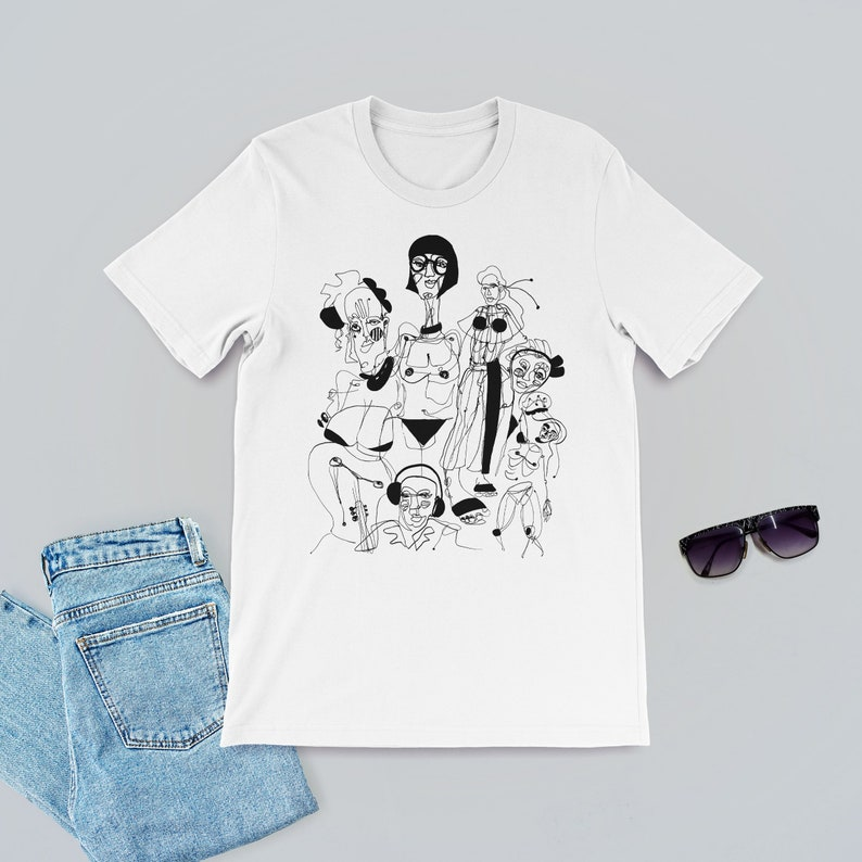 5bf60f11 People Illustration T-Shirt Ink People Black and White | Etsy