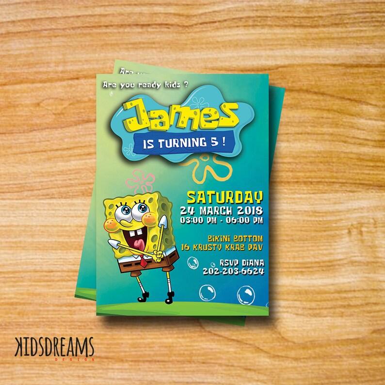 Spongebob Invitation Party Birthday Card Printable DIY