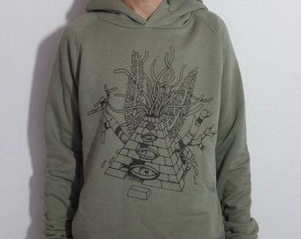 Silkscreen sweatshirt dark grey hoodie hood white ink anthracite man handcrafted fair trade bio mask