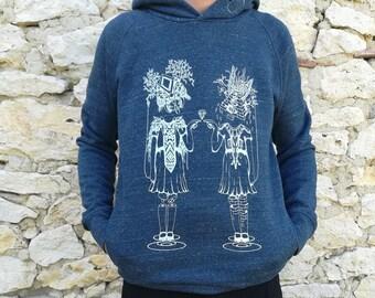Silkscreen sweatshirt, festival, artisanal, man, fair trade bio, hoodie, hood, twin, shining, dark blue mottled, white ink