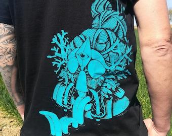T-shirt, thick, shaman, shaman, tribal, festival, black, screen printing, artisanal, man, organic, fair trade, blue ink, turquoise