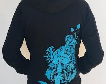 shining hood khaki white ink handcrafted hoodie Silkscreen sweatshirt fair trade bio man lazy twin