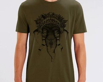 Thick t-shirt, silkscreen, handcrafted, man, organic, fair trade, organic, festival, illustration, drawing, elephant, dark khaki, black ink,