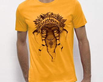 Hand Screenprinted T-shirt / Elephant / Yellow