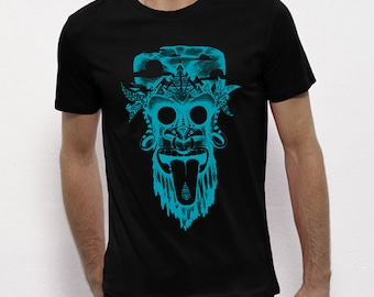 Hand Screenprinted T-shirt / monkey / Black