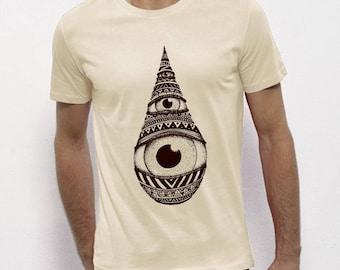 Hand Screenprinted T-shirt / Drop / Vintage White