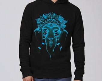 Sweatshirt silkscreen, artisanal, man, bio fair trade, organic, sweatshirt, hoodie, illustration, drawing, elephant, black, black, azure ink