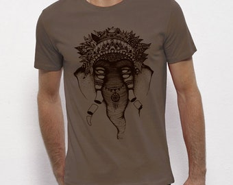 Hand Screenprinted T-shirt / Elephant / Walnut