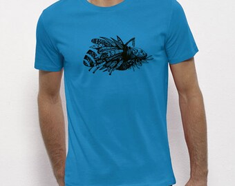Hand Screenprinted T-shirt / insect / azure