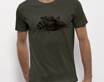 Hand Screenprinted T-shirt / insect / khaki