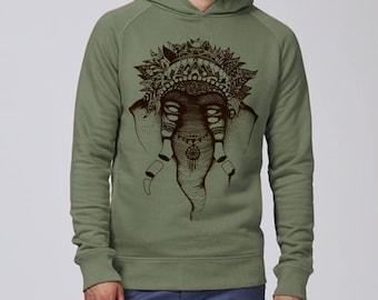 Silkscreen, handcrafted, man, organic, sweatshirt, hoodie, illustration, drawing, elephant, khaki, brown ink