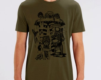T-shirt, hello tiki, tribal, festival, dark khaki, silkscreen, trance music, artisanal, man, fair trade bio, black ink, thick t-shirt
