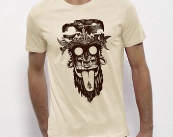 T-shirt, monkey, monkey, tribal, festival, white, black, screen printing, artisanal, man, fair trade bio, brown ink, ecru