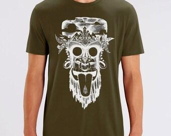 T-shirt, monkey, monkey, tribal, festival, dark khaki, screen printing, artisanal, man, fair trade bio, black ink, thick t-shirt