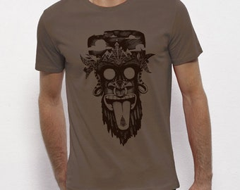 Hand Screenprinted T-shirt / Monkey / Walnut