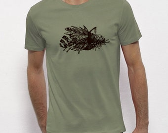 Hand Screenprinted T-shirt / insect / Light khaki