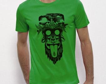Hand Screenprinted T-shirt / monkey / Green