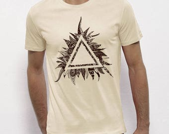 Hand Screenprinted T-shirt / Triangle / Vintage White