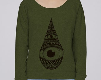 Woman hand screen printed Sweatshirt / Drop / khaki