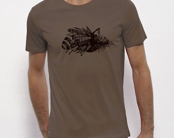 Hand Screenprinted T-shirt / Insect / Walnut