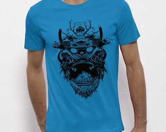 Hand Screenprinted T-shirt / Mask / sky blue