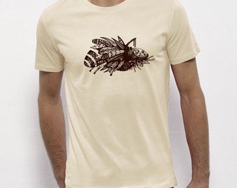 Hand Screenprinted T-shirt / insect / Vintage white