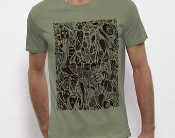 Hand Screenprinted T-shirt / Leaves / Light khaki