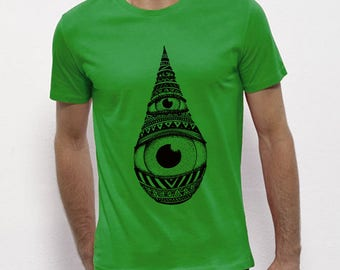 Hand Screenprinted T-shirt / Drop / Green