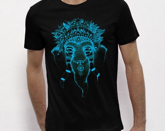 Hand Screenprinted T-shirt / Elephant / Black