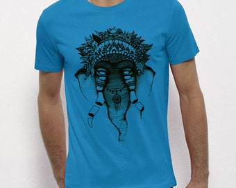 Hand Screenprinted T-shirt / Elephant / azure