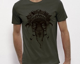 Hand Screenprinted T-shirt / Elephant / khaki
