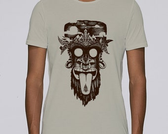 Hand Screenprinted T-shirt / monkey / Opal